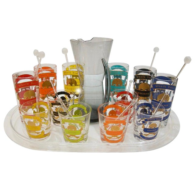 """Whats Your Pleasure"". Mid-Century Colorful Glass Barware Set - 27 Pcs For Sale"
