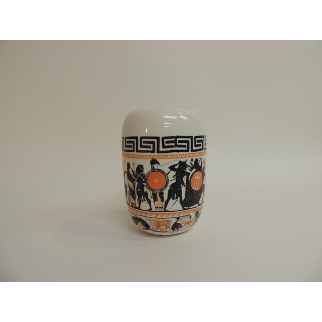 1980s Vintage Round Etruscan Greek Hand Painted Ceramic Vase For Sale - Image 5 of 5