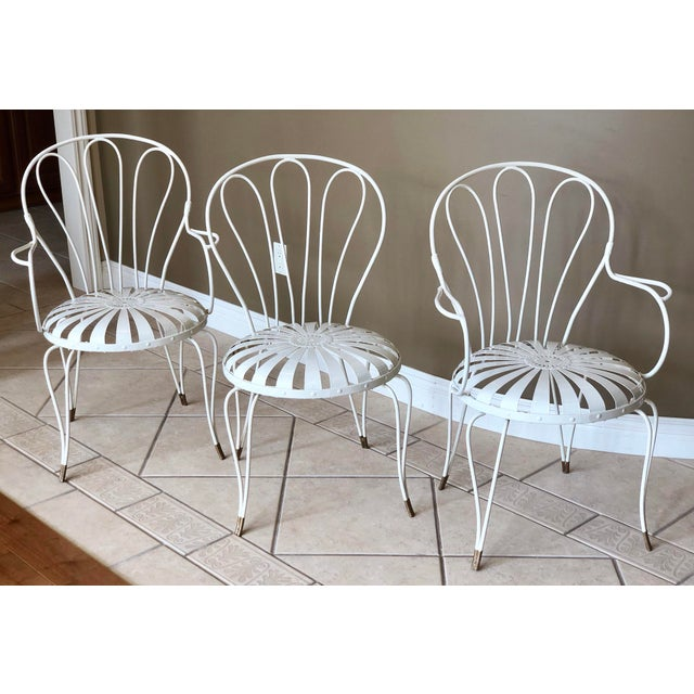 1930s 1930s Vintage French Art Deco Francois Carre White and Gold Sunburst Garden Chairs - Set of 3 For Sale - Image 5 of 10