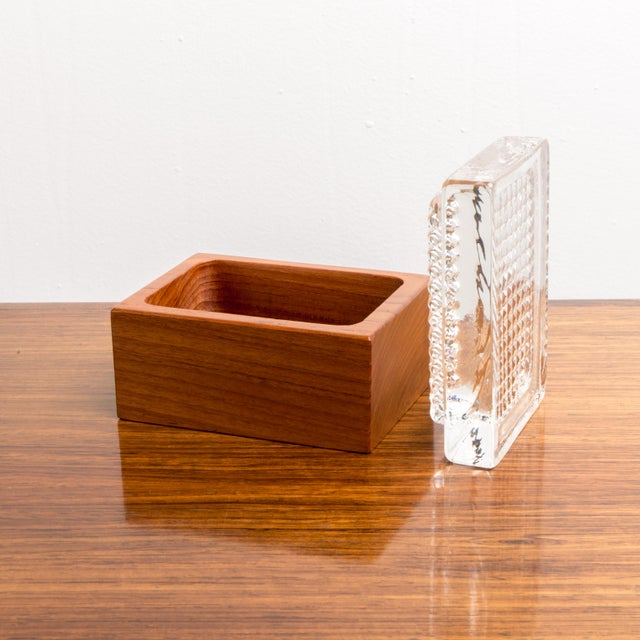 1950s Vintage Glass & Wood Box For Sale - Image 4 of 8