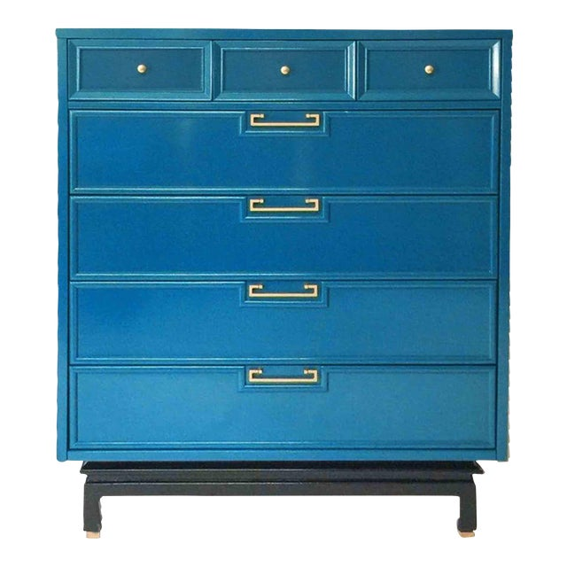 American of Martinsville Mid-Century Chinoiserie Highboy For Sale