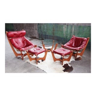 Designer hjellegjerde Odd Knutsen RED Luna Chairs, Ottomans, & Table - 5 Pieces For Sale