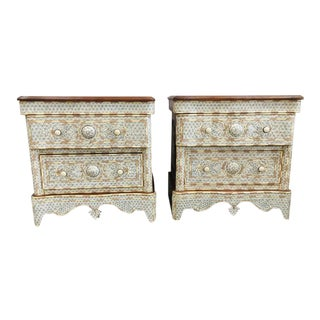 Pair of Syrian Middle Eastern White Mother of Pearl Inlay Dressers For Sale