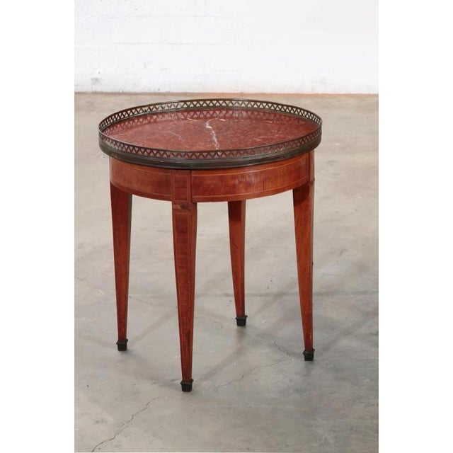 French Antique Louis XVI Style Inlaid Walnut & Rouge Marble Petit Bouillotte Table For Sale - Image 3 of 3
