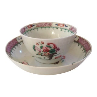 18th C. Chinese Export Tea Cup & Saucer For Sale