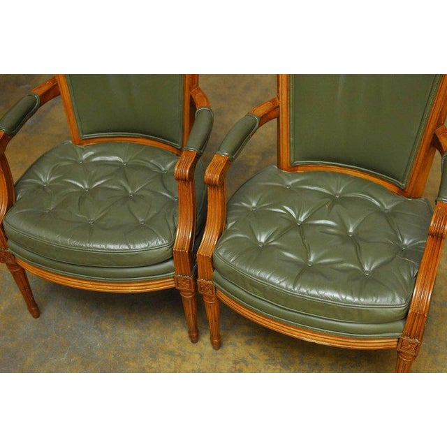 Louis XVI Style Leather Fauteuil Armchairs - A Pair - Image 3 of 10