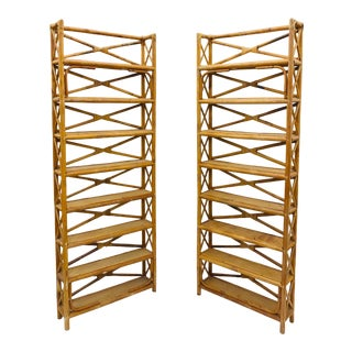 Pair Vintage Palm Beach Chic Rattan, Scorched Bamboo & Wicker Shelves For Sale