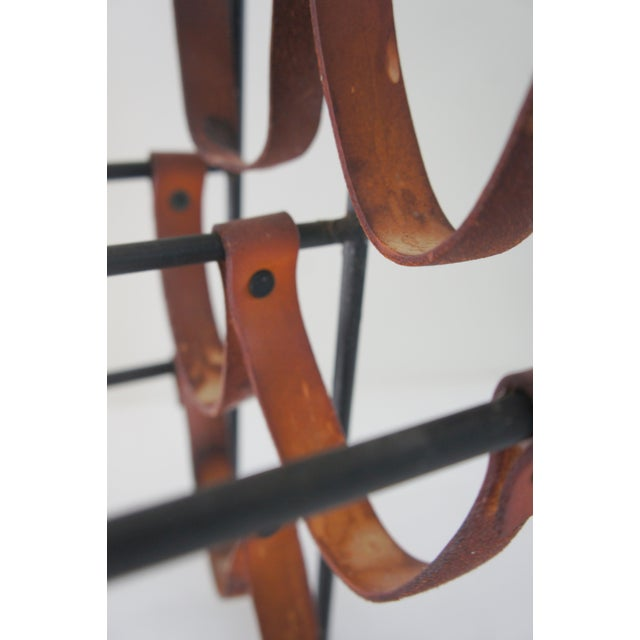 Mid-Century Modern Arthur Umanoff Sculptural Wrought Iron and Leather Wine Rack For Sale - Image 9 of 13