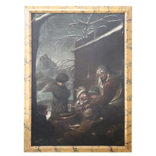 17th Century Flemish Large Oil on Canvas Painting With Frame For Sale
