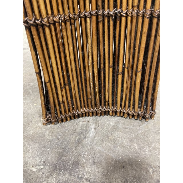 Brown Vintage Bamboo Umbrella Stand Vase For Sale - Image 8 of 9