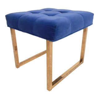 Mid-Century Brass Base Footstool For Sale
