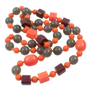 Extra Long Bakelite & Lucite Necklace Tequila Pink and Gray Beads For Sale