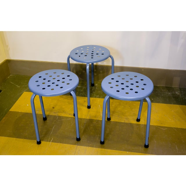 Industrial Circa 1960 Blue Mid-Century Modern Perforated Stools - Set of 3 For Sale - Image 3 of 3