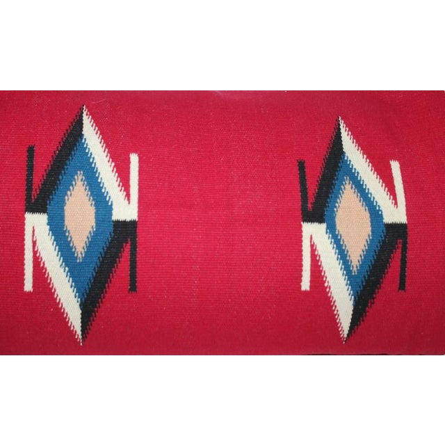 Mexican Indian Handwoven Serape Bolster Pillow For Sale - Image 4 of 7
