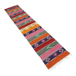 Vintage Turkish Kilim Runner-2′ × 9′5″ For Sale