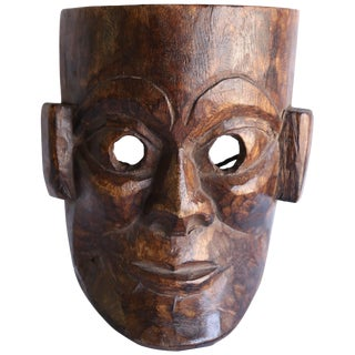 Early 20th Century Solid Wood Hand-Carved Mask From Nepal For Sale