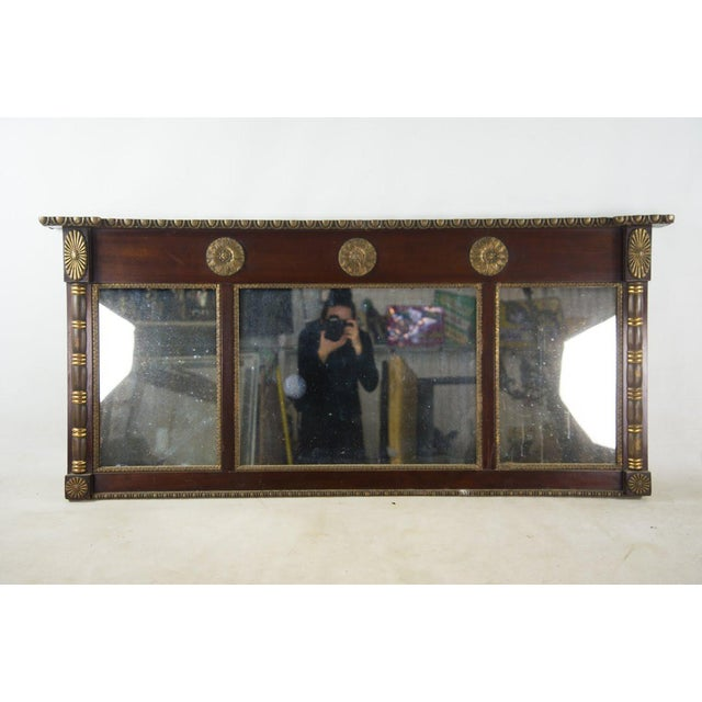 Black Antique Regency Mahogany and Giltwood Mantel Mirror For Sale - Image 8 of 8