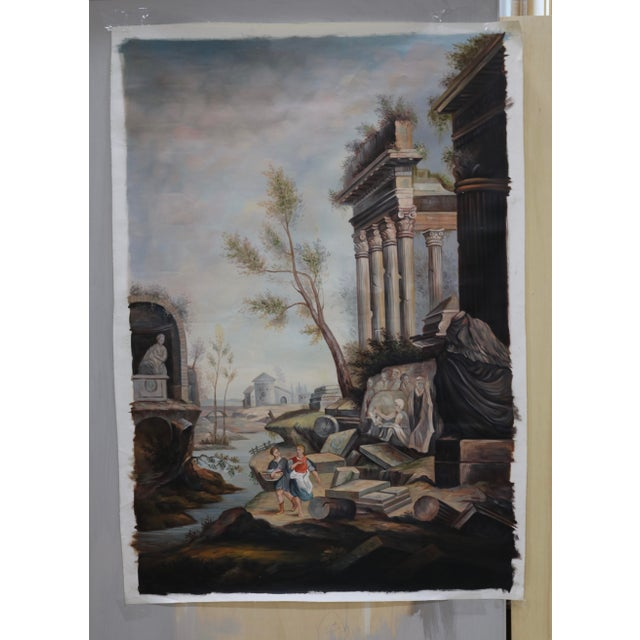 Late 20th Century Oil on Canvas Painting of Ancient Ruins Beside a River For Sale - Image 5 of 7