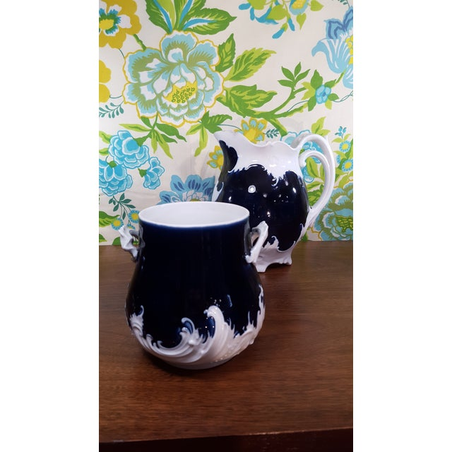 Antique Victorian Era Cobalt Blue and Bone White China Water Pitcher and Chamber Pot - Wave Like Detailing For Sale - Image 11 of 13