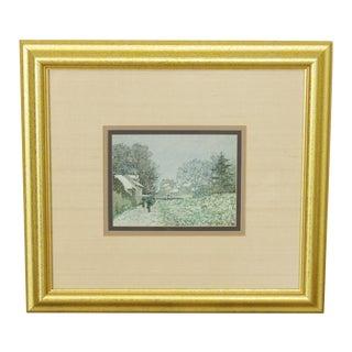Custom Framed Impressionist Art Print Winter Scene For Sale