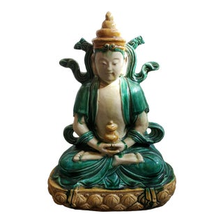Early 20th Century Chinese Buddha on Lotus Throne Sancai Glazed Clay Sculpture For Sale
