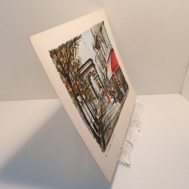 """Vintage Paris 1950's Litho """"Champs Elysees Arc de Triompe"""" by Ducollet - Image 2 of 11"""
