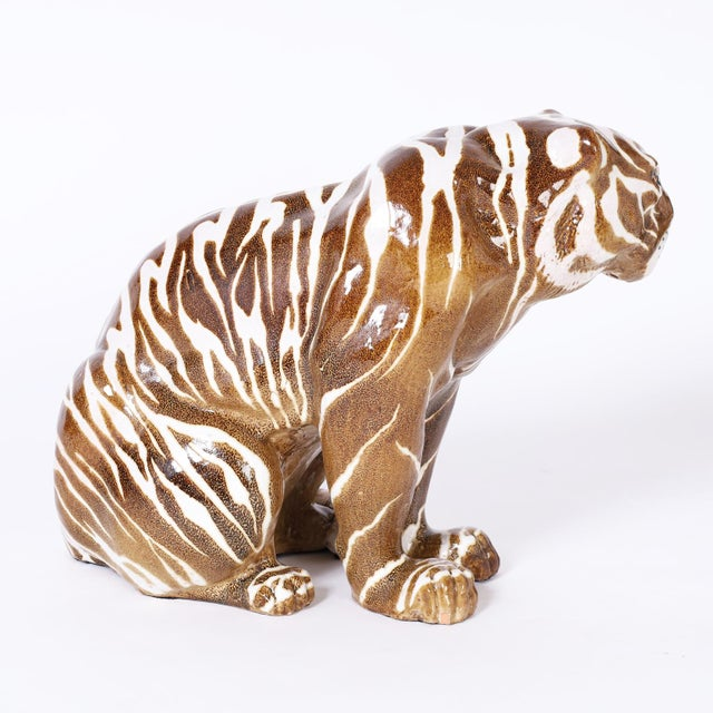 Mid Century Terra Cotta Tiger For Sale - Image 4 of 8