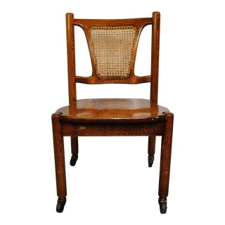 Antique French Cane Back Walnut Desk Chair For Sale