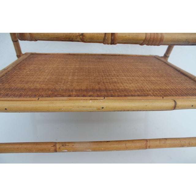 Vintage Small Rolling Wicker & Rattan Tea Cart For Sale - Image 10 of 11