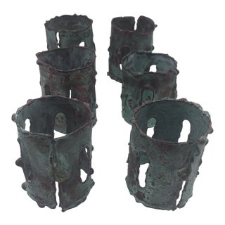 1970s Brutalist Metal Verdigris Napkin Rings - Set of 6 For Sale