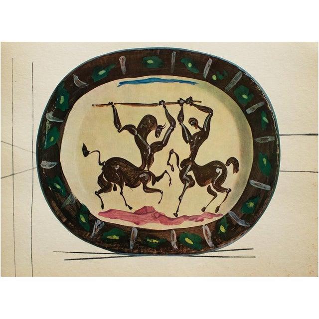 1950s 1955 Pablo Picasso Satyr and Centaur Ceramic Plate, Original Period Swiss Lithograph For Sale - Image 5 of 6