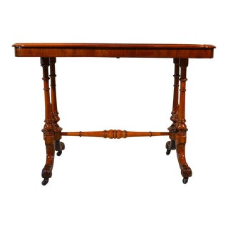 Antique English Burled Walnut Occasional Table Circa 1880 For Sale