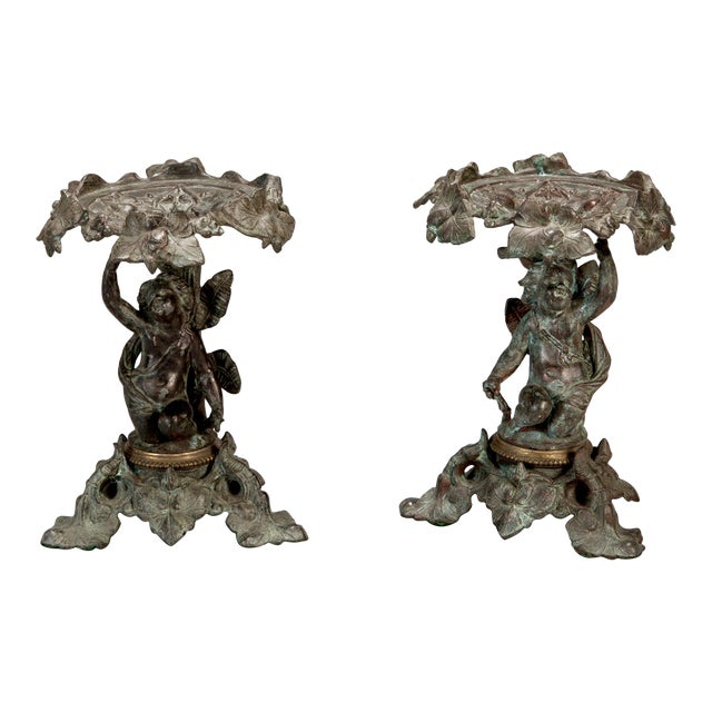 19th C. Tall Bronze French Tazzas - A Pair For Sale