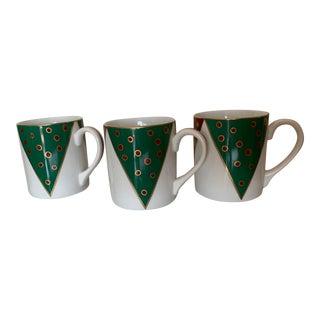 1990s Tiffany Harlequin Porcelain Mugs - Set of 3 For Sale