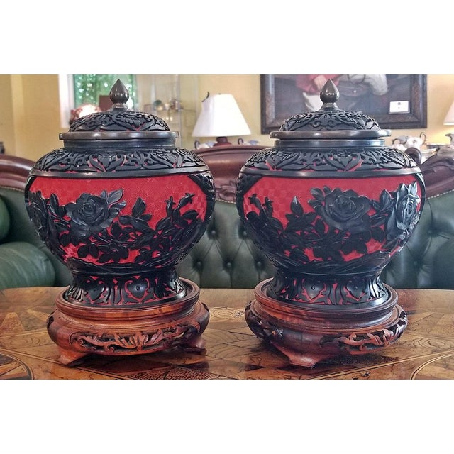 20th Century Chinese Cinnabar and Enamel Lidded Urns on Stand - a Pair For Sale - Image 11 of 11