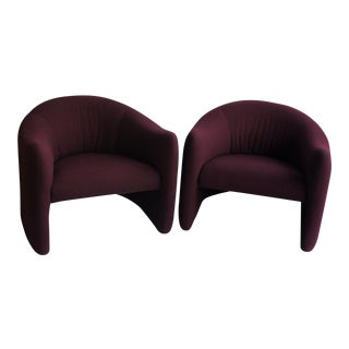 1980s Vintage Metro Furniture Upholstered Wool Wine-Red Lounge Chairs- A Pair For Sale