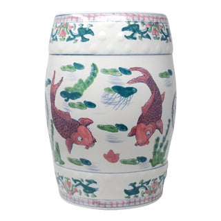 Vintage Ceramic Koi Garden Stool For Sale