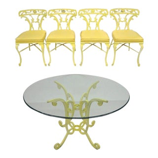 Cast Aluminum Trojan Metal Patio Dining Set Table 4 Chairs Victorian Molla Style For Sale