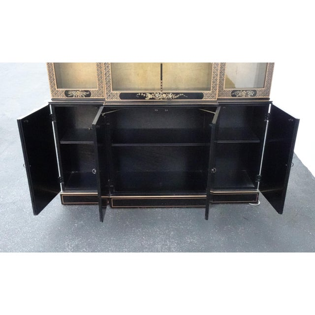 Vintage Drexel Oriental Asian Chippendale Chinoiserie Black China Cabinet Hutch For Sale - Image 9 of 13