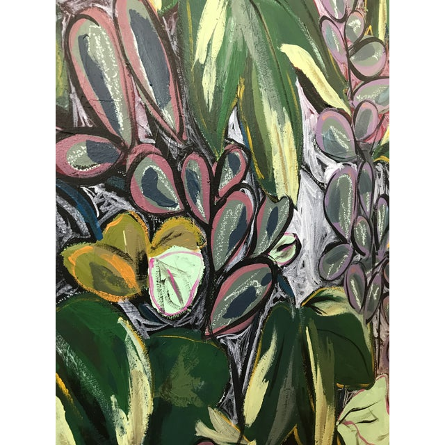 "Expressionism Morgan Rollinson ""Ivy for Evelyn"" Original Acrylic Painting With Oil Pastel on Wood For Sale - Image 3 of 5"
