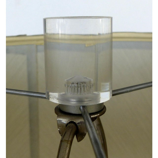 Silver Mercury Glass Table Lamps With Lucite Bases & Finials-A Pair For Sale - Image 8 of 11