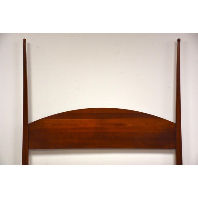 """A modern solid cherry four post king bed by Ethan Allen """"American Impressions"""". This set includes a headboard, footboard,..."""