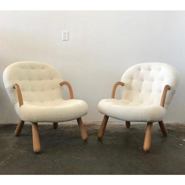 """Mid-Century Modern Philip Arctander Style """"Clam"""" Armchairs Boucle Fabric For Sale - Image 3 of 8"""