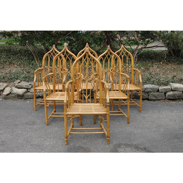1970s McGuire Style Rattan Bamboo Gothic Cathedral Chairs All Arm Chairs - Set of 2 For Sale - Image 12 of 12
