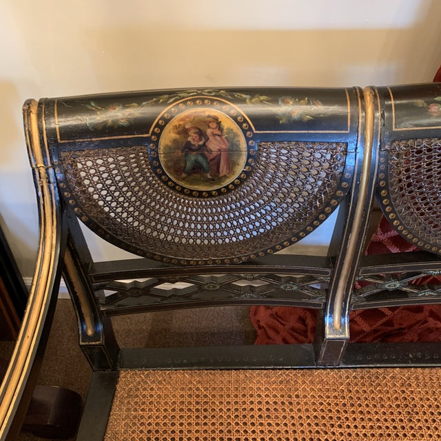 Empire Mid 19th Century Ebonized English Regency Settee With Cane on Casters For Sale - Image 3 of 13