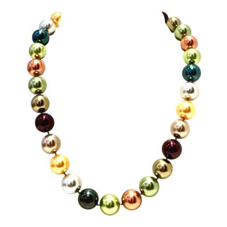 21st Century Faux Pearl Bead Choker Style Necklace By, Kenneth Lane For Sale