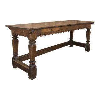 19th Century Rustic Oak Desk Farm Table For Sale