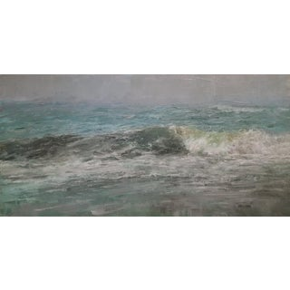 "Beckham Oil Painting ""September Shore"" Contemporary Blue Green Seascape For Sale"