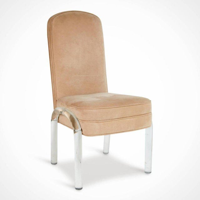 Contemporary Lucite and Alcantara Dining Chairs, Circa 1970 - Set of 4 For Sale - Image 3 of 8