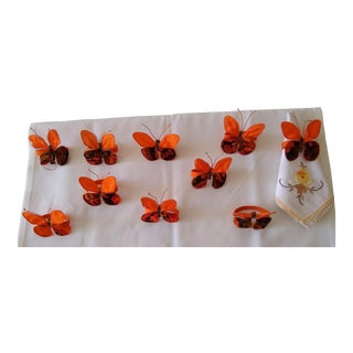 Vintage Set of Ten Hand Painted on Silk Butterfly Napkin Rings For Sale